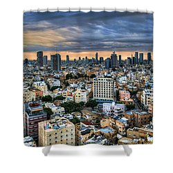 Shower Curtain featuring the photograph Tel Aviv Skyline Winter Time by Ron Shoshani