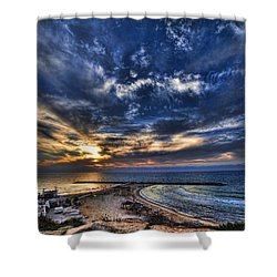 Shower Curtain featuring the photograph Tel Aviv Sunset At Hilton Beach by Ron Shoshani