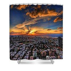 Tel Aviv Sunset Time Shower Curtain by Ron Shoshani