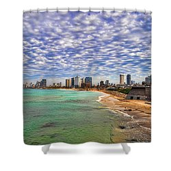 Shower Curtain featuring the photograph Tel Aviv Turquoise Sea At Springtime by Ron Shoshani