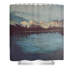 Shower Curtain featuring the painting Telequana Lk Ak by Terry Frederick