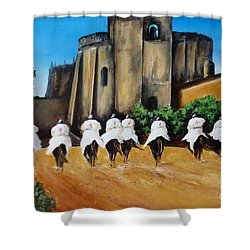 Templar Knights And The Convent Of Christ Shower Curtain by Kaye Miller-Dewing