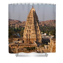 Temple At Hampi Shower Curtain by Carol Ailles