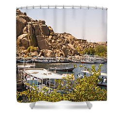 Temple Boat Dock Shower Curtain by James Gay