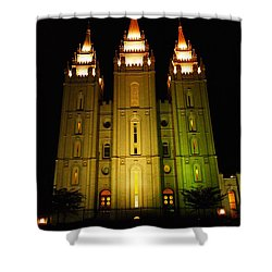Temple In Salt Lake City Shower Curtain by Jeff Swan