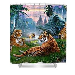 Temple Lake Tigers Shower Curtain by Jan Patrik Krasny