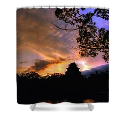 A Temple Sunset Japan Shower Curtain by John Swartz