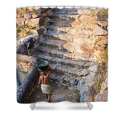 Temple Steps Shower Curtain