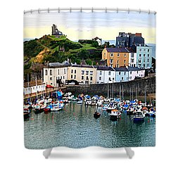 Tenby Harbour Panorama Shower Curtain