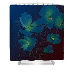 Tender Cosmos Shower Curtain by Latha Gokuldas Panicker