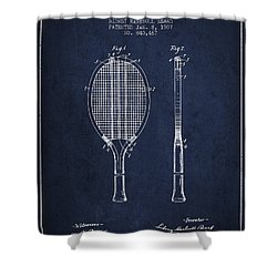 Tennis Racket Patent From 1907 - Navy Blue Shower Curtain by Aged Pixel