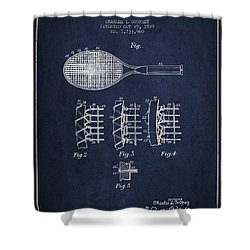 Tennnis Racket Patent Drawing From 1929 Shower Curtain by Aged Pixel