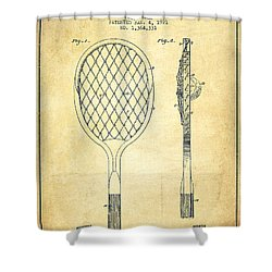 Tennnis Racketl Patent Drawing From 1921 - Vintage Shower Curtain by Aged Pixel