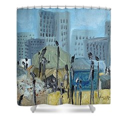 Shower Curtain featuring the painting Tent City Homeless by Judith Rhue