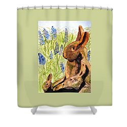 Terra Cotta Bunny Family Shower Curtain by Angela Davies