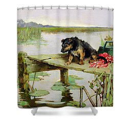 Terrier - Fishing Shower Curtain by Philip Eustace Stretton