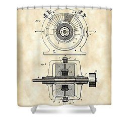 Tesla Alternating Electric Current Generator Patent 1891 - Vintage Shower Curtain