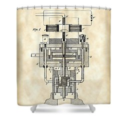 Tesla Electric Generator Patent 1894 - Vintage Shower Curtain