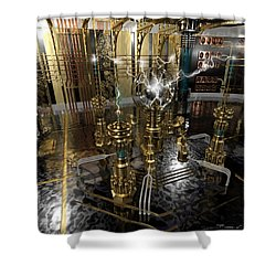 Tesla Power Generator Shower Curtain by James Christopher Hill