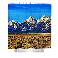 Shower Curtain featuring the photograph Teton Panorama by Benjamin Yeager