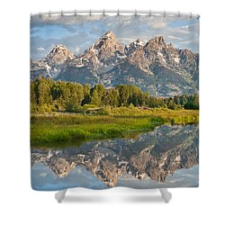Shower Curtain featuring the photograph Teton Range Reflected In The Snake River by Jeff Goulden