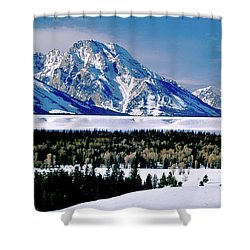 Teton Valley Winter Grand Teton National Park Shower Curtain by Ed  Riche