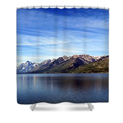 Tetons By The Lake Shower Curtain by Ausra Huntington nee Paulauskaite