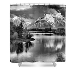 Tetons In Black And White Shower Curtain by Dan Sproul