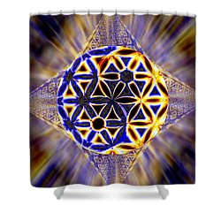 Shower Curtain featuring the drawing Tetra Balance Crystal by Derek Gedney