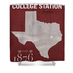 Texas A And M University Aggies College Station College Town State Map Poster Series No 106 Shower Curtain by Design Turnpike