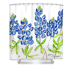 Texas Bluebonnets Watercolor Painting By Kmcelwaine Shower Curtain