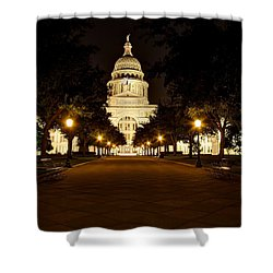 Shower Curtain featuring the photograph Texas Capitol At Night by Dave Files