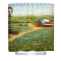 Shower Curtain featuring the painting Texas Countryside by Jimmie Bartlett