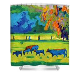 Texas Cows At Sunset Oil Painting Bertram Poole Apr14 Shower Curtain by Thomas Bertram POOLE