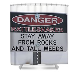 Texas Danger Rattle Snakes Signage Shower Curtain by Thomas Woolworth
