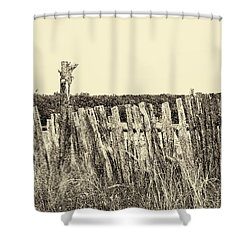 Texas Fence In Sepia Shower Curtain
