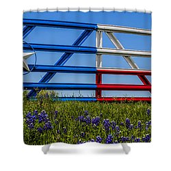 Texas Flag Painted Gate With Blue Bonnets Shower Curtain