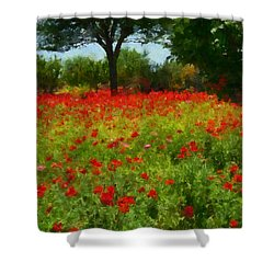 Texas Hill Country Corn Poppies Shower Curtain by Michael Flood