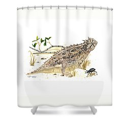 Texas Horned Lizard Shower Curtain by Cindy Hitchcock