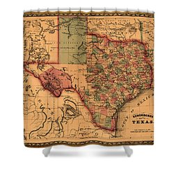 Texas Map Art - Vintage Antique Map Of Texas Shower Curtain