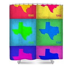 Texas Pop Art Map 1 Shower Curtain by Naxart Studio