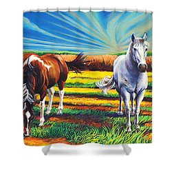 Shower Curtain featuring the painting Texas Quarter Horses by Greg Skrtic