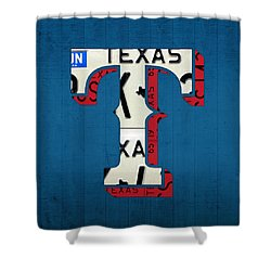 Texas Rangers Baseball Team Vintage Logo Recycled License Plate Art Shower Curtain