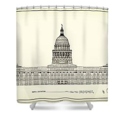 Texas State Capitol Architectural Design Shower Curtain