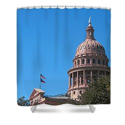 Texas State Capitol With Pediment Shower Curtain by Connie Fox