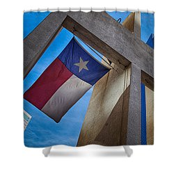 Shower Curtain featuring the photograph Texas State Flag Downtown Dallas by Kathy Churchman