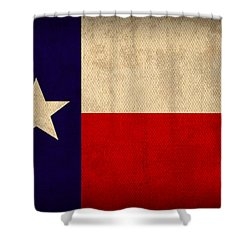 Texas State Flag Lone Star State Art On Worn Canvas Shower Curtain by Design Turnpike