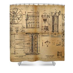Textile Machine Shower Curtain by James Christopher Hill