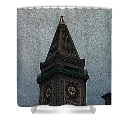Shower Curtain featuring the photograph Textured Church Steeple  by Gena Weiser