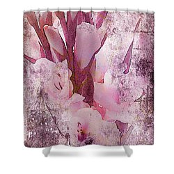Shower Curtain featuring the photograph Textured Pink Gladiolas by Sandra Foster